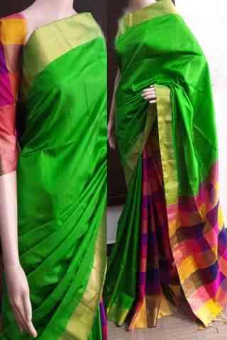 "Elegance Green Color Soft Silk Saree - SB749  30"""