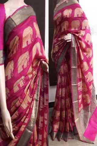 Divine Pink Soft Silk Saree - SB752  30""