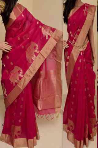 "Forever Pink Color Soft Silk Saree - SB762  30"""