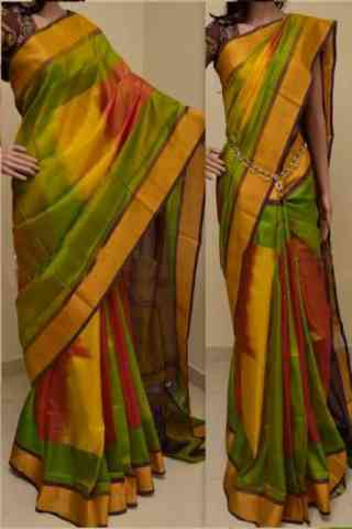 "Divine Multi Color Soft Silk Saree - SB764  30"""