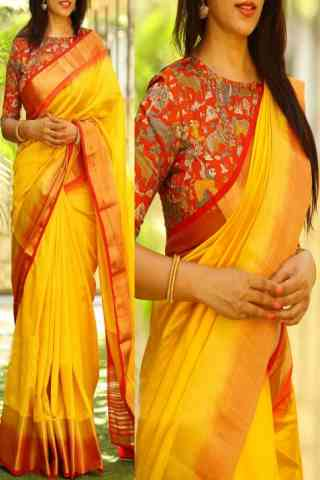 Blooming Yellow Color Soft Silk Saree - SB765  30""
