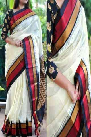 "Artistic White Color Soft Silk Saree - SB767  30"""