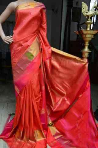 "Royal Orange Color Soft Silk Designer Sarees - SB882  30"""