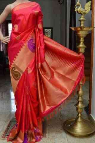 Charming Red Color Soft Silk Designer Sarees - SB888  30""