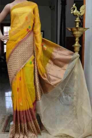 "Charming Yellow Color Soft Silk Designer Sarees - SB890  30"""