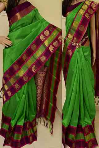 "Charming Green Color Soft Silk Designer Sarees - SB893  30"""