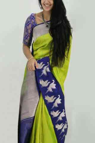 "Charming Green And Blue Color Soft Silk Designer Sarees - SB898  30"""