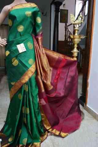 "Glorious Green Color Soft Silk Designer Sarees - SB903  30"""