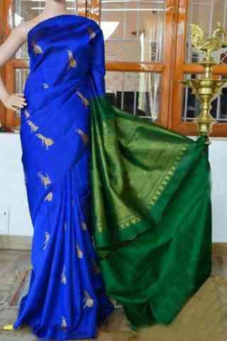 """Pretty Blue Color Soft Silk Designer Sarees - SB907  30"""""""