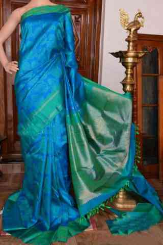 Stylish Blue Color Soft Silk Designer Sarees - SB918  30""