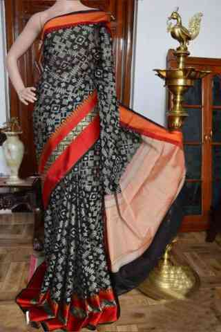 Stylish Black Color Soft Silk Designer Sarees - SB919  30""