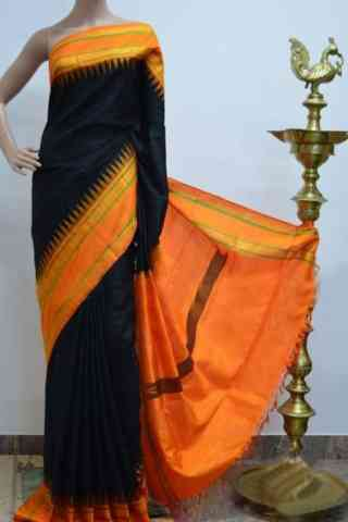 Glammrous Black And OrangeColor Soft Silk Designer Sarees - SB928  30""