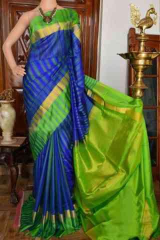 "Exquisite Blue And Green Color Soft Silk Designer Sarees - SB934  30"""