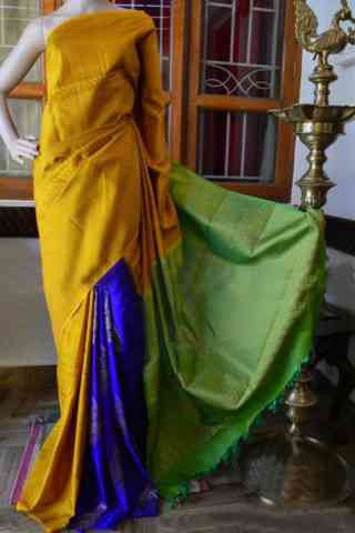 "Fashionista Yellow Color Soft Silk Designer Sarees - SB937  30"""