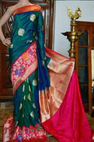 Attractive Green And Pink Color Soft Silk Designer Sarees - SB941  30""