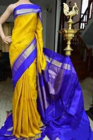 "Fabulous Yellow  And Blue Color Soft Silk Designer Sarees - SB942  30"""