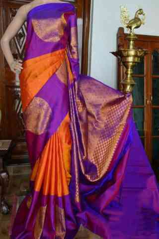 Flawless Orange And Purple Color Soft Silk Designer Sarees - SB943  30""