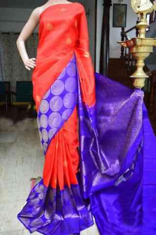 "Flawless Orange Color Soft Silk Designer Sarees - SB944  30"""