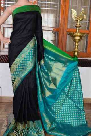 Flawless Black Color Soft Silk Designer Sarees - SB948  30""