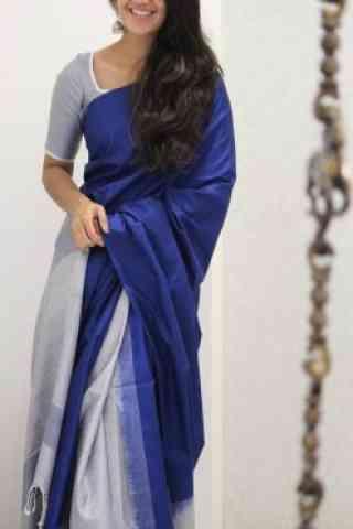 "Modern Blue Color Soft Silk Designer Sarees - SB958  30"""