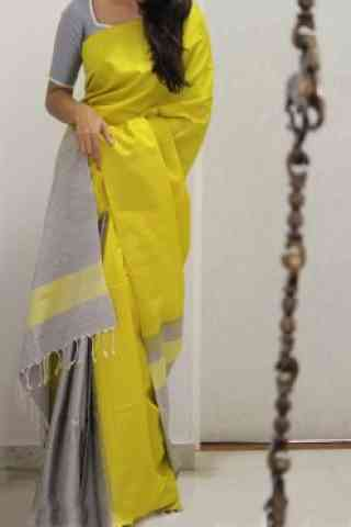 "Modern Yellow Color Soft Silk Designer Sarees - SB960  30"""