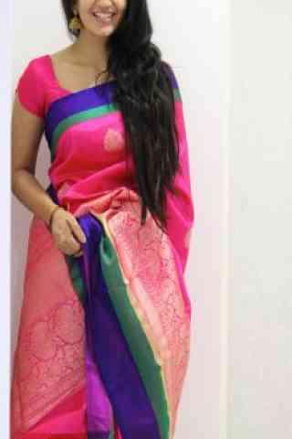 "Modern Pink Color Soft Silk Designer Sarees - SB962  30"""