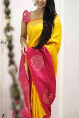 "Vivacious Yellow n Pink  Color Soft Silk Saree - SB965  30"""