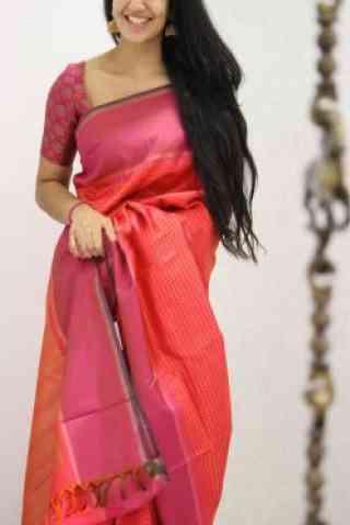 "Attractive Pink Color Soft Silk Designer Sarees - SB968  30"""