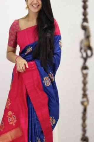 "Attractive Blue And Pink Color Soft Silk Designer Sarees - SB969  30"""