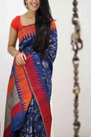 """Attractive Blue And Red Color Soft Silk Designer Sarees - SB970  30"""""""
