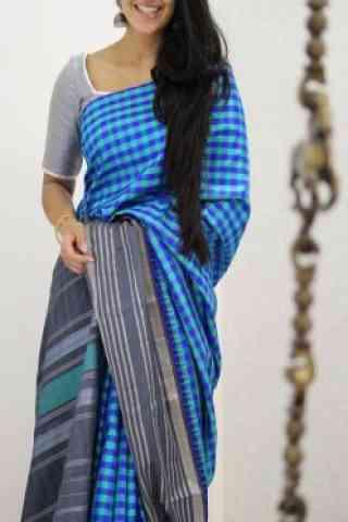 "Attractive Blue Color Soft Silk Designer Sarees - SB972  30"""