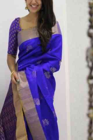 Attractive blue Color Soft Silk Designer Sarees - SB978  30""