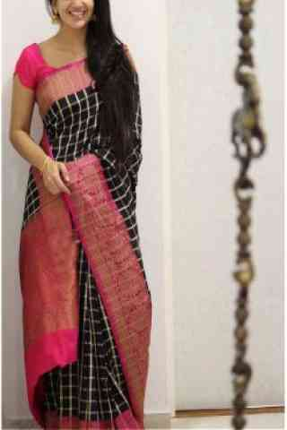 "Unique Black And Pink Color Soft Silk Designer Sarees - SB982  30"""