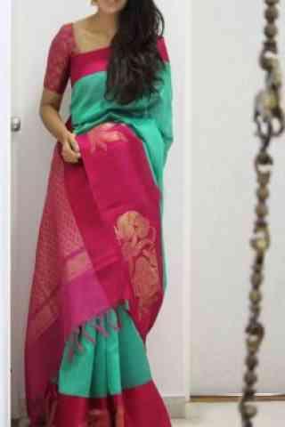 "Modish turquoise Color Soft Silk Designer Sarees - SB989  30"""