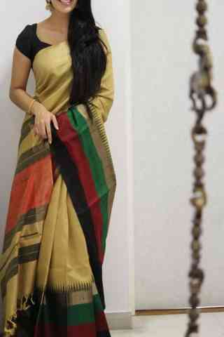 Stylish Beige Color Soft Silk Saree - SB992  30""