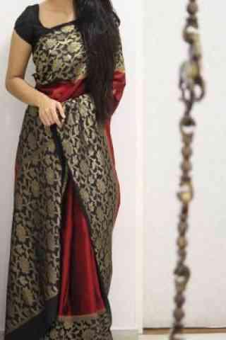 "Modish Black Color Soft Silk Designer Sarees - SB997  30"""