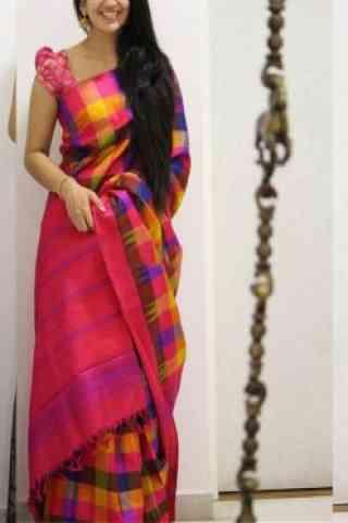 "Modish Pink Color Soft Silk Designer Sarees - SB998  30"""